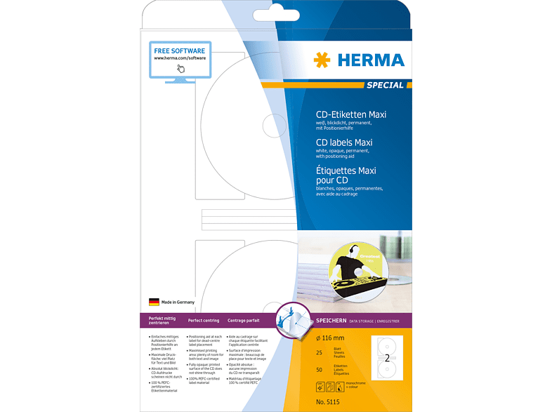 HERMA 5115 CD-Etiketten  Ø 116 mm A4 50 St.
