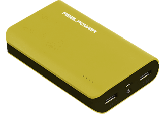 REALPOWER 180796 PB-6k Color Edition, Powerbank, 6000 mAh, Grün/Schwarz
