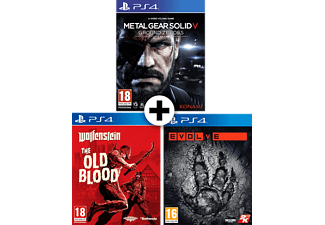 Metal Gear Solid V: Ground Zeroes + Wolfenstein The Old Blood + Evolve PS4