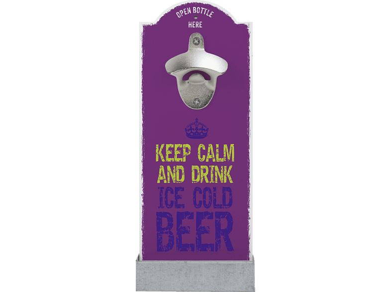 CONTENTO 866403 Keep calm and drink ice cold beer Wandflaschenöffner