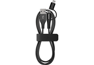 PURO Micro USB Cable with Lightning connector Adapter Fabric - (CMAPLTFABRIC2BLK)