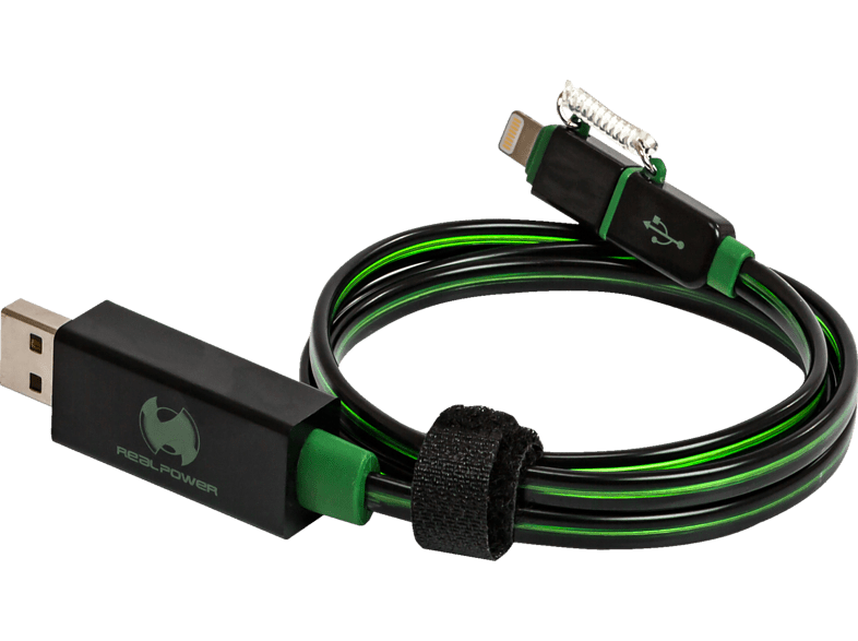REALPOWER Floating cable 2in1, Kabel 2in1, Schwarz/Grün