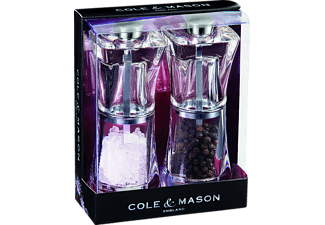 COLE & MASON H37408P Crystal, Salz-/Pfeffermühle, Siber/Transparent, 125 mm