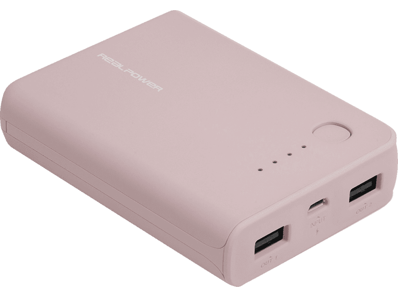 REALPOWER PB-10k Powerbank 10000 mAh Rose Quarz