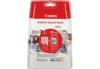 CANON CLI-571 Pack 4 couleurs + Papier photo (0386C007)