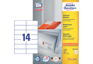 AVERY ZWECKFORM 3653-200 UNIVERSAL-ETIKETTEN PERMANENT 105X42,3MM