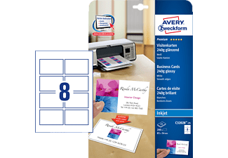 AVERY ZWECKFORM C32028-25 INKJET GLOSSY VISITENK. QUICK+CLEAN 220G