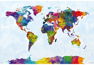 Watercolor World Map Poster Michael Tompsett