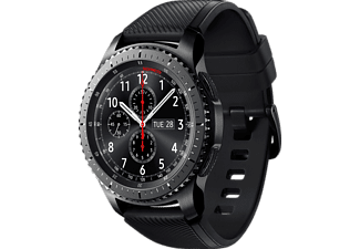 SAMSUNG  Gear S3 Frontier Smartwatch, Silikon, 22 mm, Korpus: Space Gray, Silikon-Armband: Blue Black