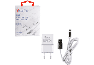 VOLTE-TEL iPhone 5 (φόρτισης-data VCD05 + Travel VLU15 1500mA) ios 10 White - (5205308163920)