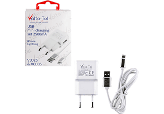 VOLTE-TEL iPhone 5 (φόρτισης-data VCD05 + Travel VLU25 2500mA) ios 10 White - (5205308163920)