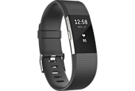 FITBIT Charge 2 Large, Fitnesstracker, 165-206 mm, Schwarz/Silber