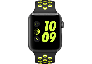 APPLE Watch Nike+, 42 mm Aluminiumgehäuse, Space Grau, mit Nike Sportarmband, Black/Volt