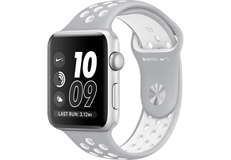 APPLE Watch Series 2, 42mm Aluminiumboett i silver, Nike-sportband i matt silver/vitt
