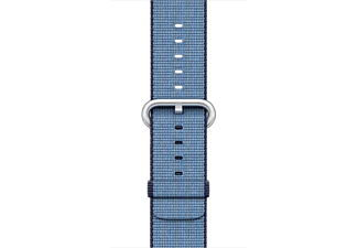APPLE 38 mm vävt nylonarmband - marin/ljusblå