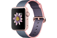 APPLE Watch Series 2 Smart Watch Aluminium Nylonband, 38 mm, Rose Gold/Hellrosa/Mitternachtsblau