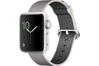 APPLE Watch Series 2 Smart Watch Aluminium Nylonband, 38 mm, Silber/Perlgrau
