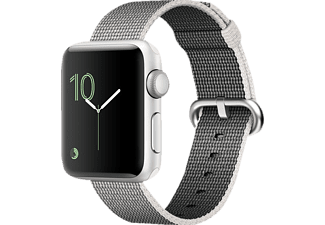 APPLE Watch Series 2, Smart Watch, Nylonband, 38 mm, Silber/Perlgrau