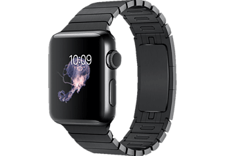 APPLE Watch Series 2, Smart Watch, Edelstahl Gliederarmband, 38 mm, Schwarz/Schwarz