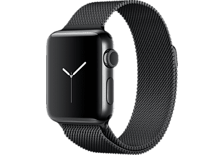 APPLE Watch Series 2, Smart Watch, Edelstahl Milanese Armband, 38 mm, Schwarz/Schwarz