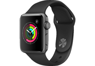 APPLE Watch Series 2, Smart Watch, Polymer, 38 mm, Grau/Schwarz