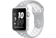 APPLE  Watch Series 2 Nike+ Smart Watch Aluminium, Sportband, 42 mm, Silber/Silber/Weiß