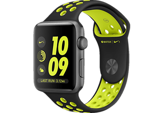 APPLE  Watch Series 2 Nike+ Smart Watch Aluminium Polymer, 38 mm, Space Grau/Schwarz/Gelb
