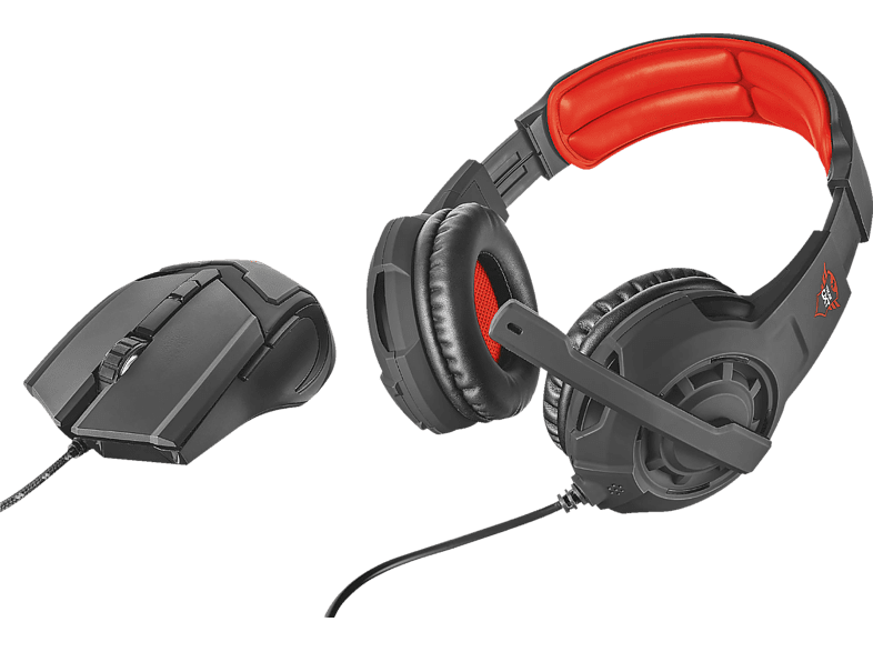 TRUST 21472 GXT 784 Gaming Headset und Gaming Mouse Schwarz/Rot
