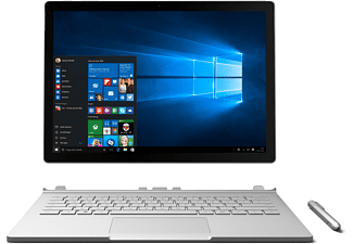 MICROSOFT Surface Book, Convertible mit 13.5 Zoll, 8 GB RAM, Core™ i5 Prozessor, Windows 10 Pro, Silber