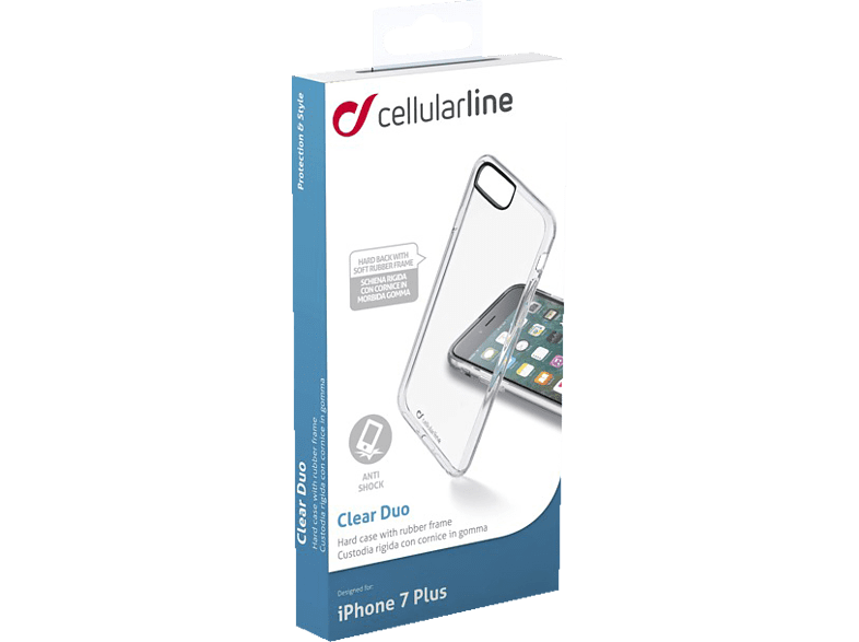 CELLULAR LINE Clear Duo , Backcover, Apple, iPhone 7 Plus, iPhone 8 Plus, Kunststoff, Transparent