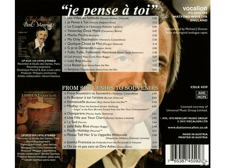 Paul Mauriat, His Orchestra - Je Pense A Toi & From Souvenirs To... [CD]