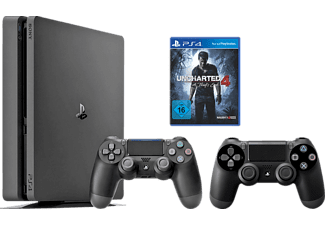 SONY PlayStation 4 Konsole Slim 1TB + Uncharted 4 + 2. DUALSHOCK 4 Wireless-Controller