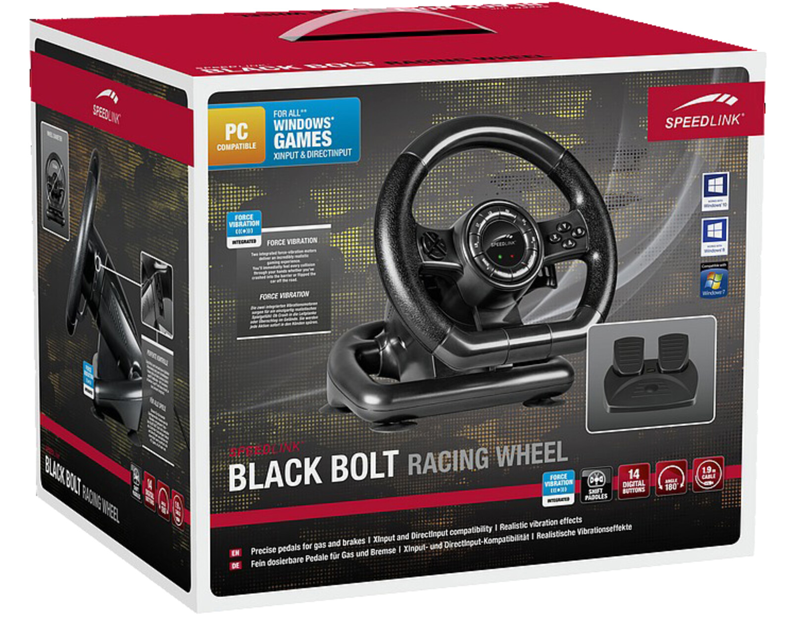 speedlink sl 650300 bk black bolt pc racing wheel gaming. Black Bedroom Furniture Sets. Home Design Ideas