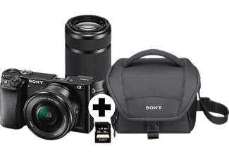 SONY Alpha 6000 Kit Systemkamera, 24.7 Megapixel, 2x opt. Zoom, Full HD, Exmor APS-C Sensor, Externer Blitzschuh, Near Field Communication, WLAN, 16-50 mm, 55-210 mm Objektiv, Autofokus, Schwarz
