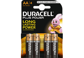 DURACELL AA PLUS POWER ALKALINE 4PCS Batterie (Schwarz/Kupfer)