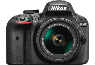 Cámara réflex - Nikon D3400, Sensor DX, 24.2 MP, Vídeo Full HD + Objetivo AF-P DX 18-55mm