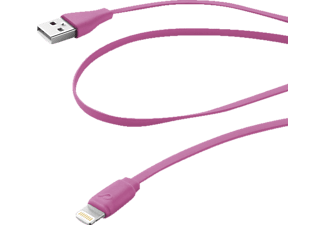 CELLULAR LINE Flachband Datenkabel, passend für Apple Universal, Pink