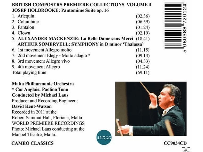 Malta Philharmonic Orchestra, Michael Laus - Bristish Composers Premiere Collection 3 [CD]