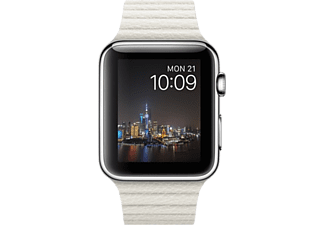 APPLE Watch 42 mm Paslanmaz Çelik Kasa Beyaz Deri Loop MMFV2TU/A (Orta boy)