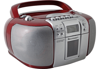 SOUNDMASTER SCD5406RO Boombox mit Kassettendeck, Radio, UKW, MW, Rot-Silber
