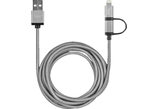 LEICKE 2-in-1 Lightening to USB Cable, passend für Universal iPad 4, 5 (Air), 6 (Air 2), mini, mini 2, mini 3, iPhone 5, 6, 6L (Plus), iPod Touch 5, Smart Devices mit Micro-USB-Anschluss, Grau