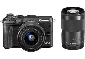 CANON EOS M6 Kit STM Systemkamera 24.2 Megapixel mit Objektiv 15-45 mm, 55-200 mm f/6.3, f/6.3, 7.5 cm Display   Touchscreen, WLAN