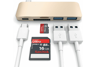 SATECHI i USB Type-C Pass Through USB Hub – 3-i-1 hub - Guld