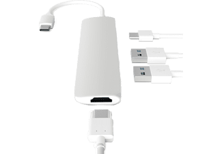 SATECHI Slim USB Type-C MultiPort Adapter med 4K HDMI videoutgång och 2 USB 3.0 portar - Silver