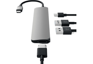 SATECHI Slim USB Type-C MultiPort Adapter med 4K HDMI videoutgång och 2 USB 3.0 portar - Grå