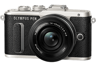 Hybride camera OLYMPUS PEN E-PL8 Zwart + 14-42mm Pancake Zwart (V205082BE000)