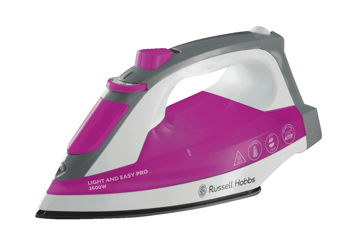 RUSSELL HOBBS 23591-56 Light and Easy Pro, Dampfbügeleisen, 2600 Watt, Lila/Weiß/Grau