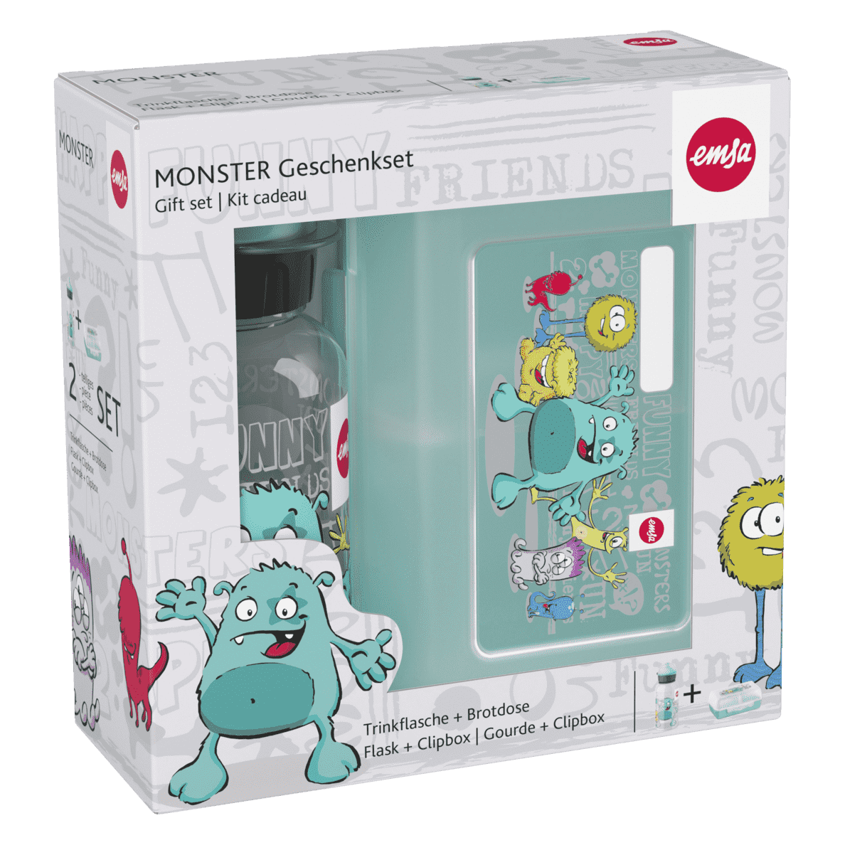 EMSA 518138 Monster Lunchbox mit Trinkflasche in Türkis