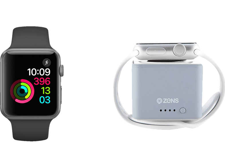 APPLE S1 42 GR ALU+BK SPORT+ZENS POWERBANK Bundle (Smart Watch + Powerbank) Aluminium Sportband, 42 mm, Space Grey/Schwarz | 02000022492584