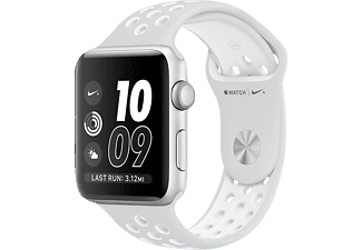 APPLE Watch Series 2 Nike+, Smart Watch, Polymer, 38 mm, Silber/Weiß